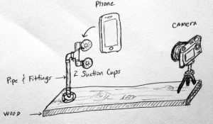 Simple mounting system for the phone video recording.