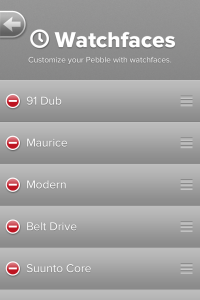 Watchfaces on Smartphone application.