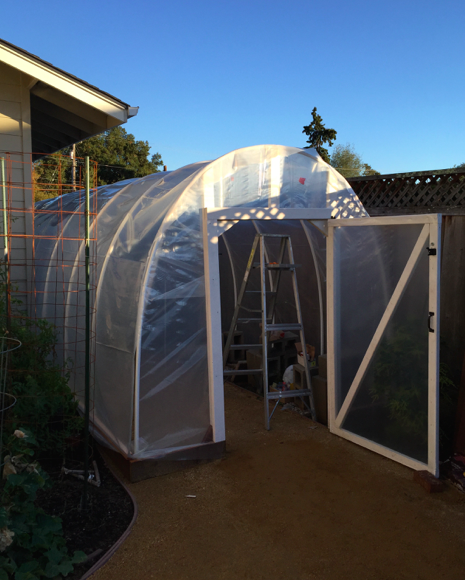 Greenhouse near completion. Building the shelves inside is for next weekend.