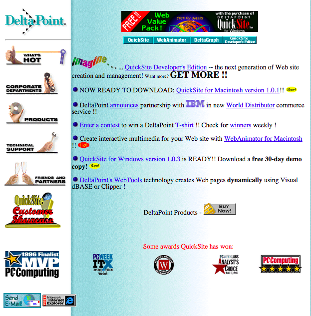 DeltaPoint's website circa 1996. Created by QuickSite.