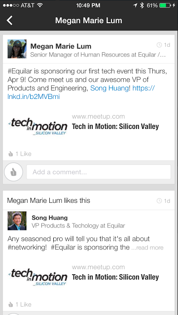 Cross promoting the meetup on LinkedIN mobile.
